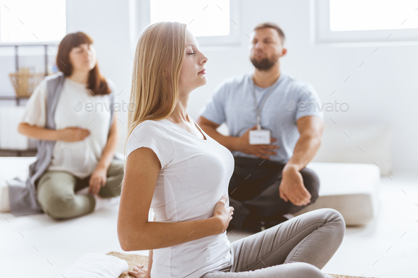 Praciticing the breathing - Stock Photo - Images