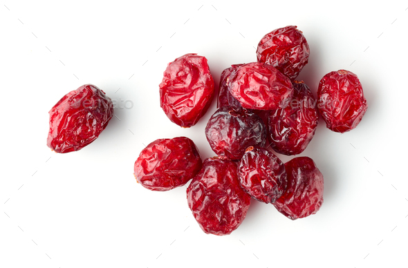 dried cranberries on white background - Stock Photo - Images