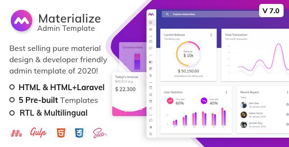 Materialize - HTML & Laravel Material Design Admin Template