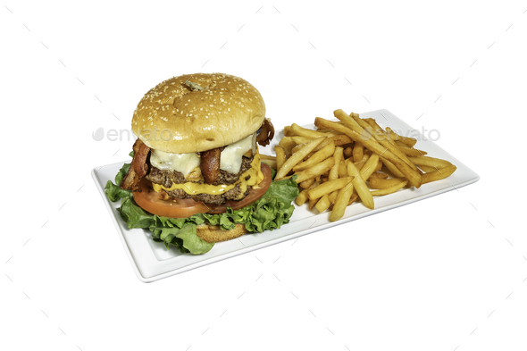 Double burger with french fries on white background - Stock Photo - Images