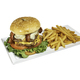 Double burger with french fries on white background - PhotoDune Item for Sale