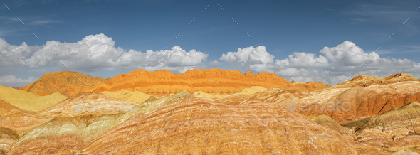 panoramic view of colorful hilly landscape in zhangye - Stock Photo - Images