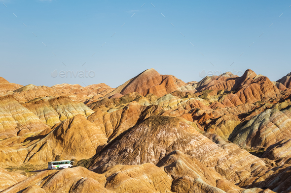 colorful hilly landscape in zhangye - Stock Photo - Images