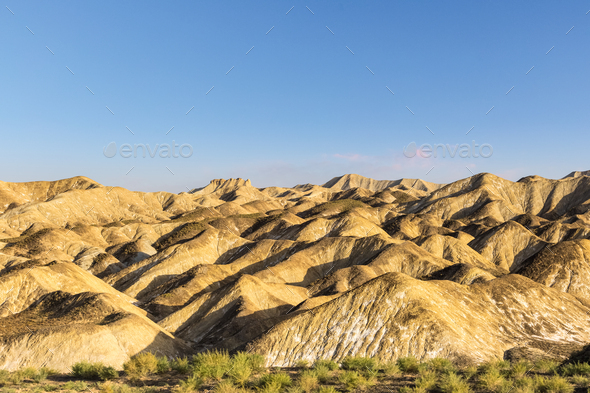 beautiful hilly landscape at dusk in zhangye - Stock Photo - Images