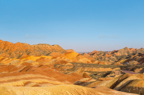 rainbow hilly landscape at dusk in zhangye - Stock Photo - Images