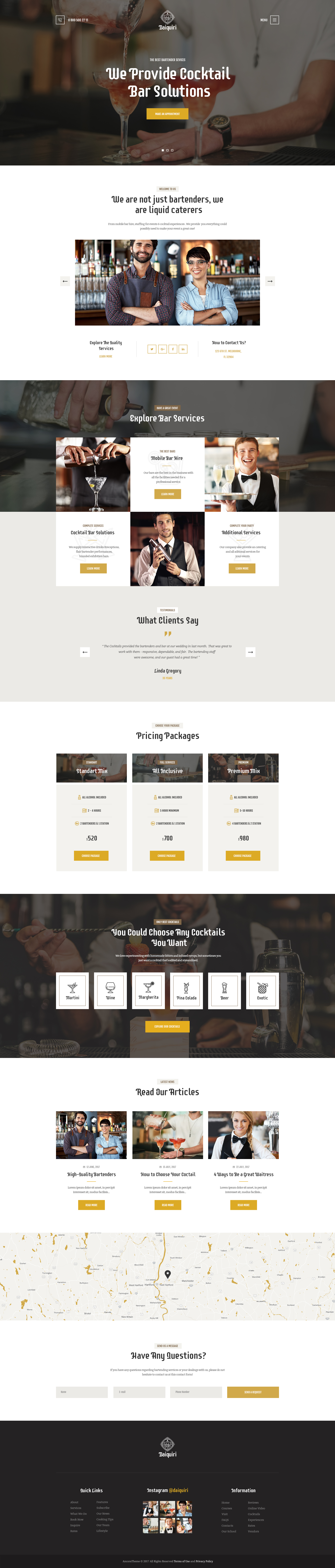 Daiquiri Bartender Services Catering Cocktail Wordpress Theme By Themerex