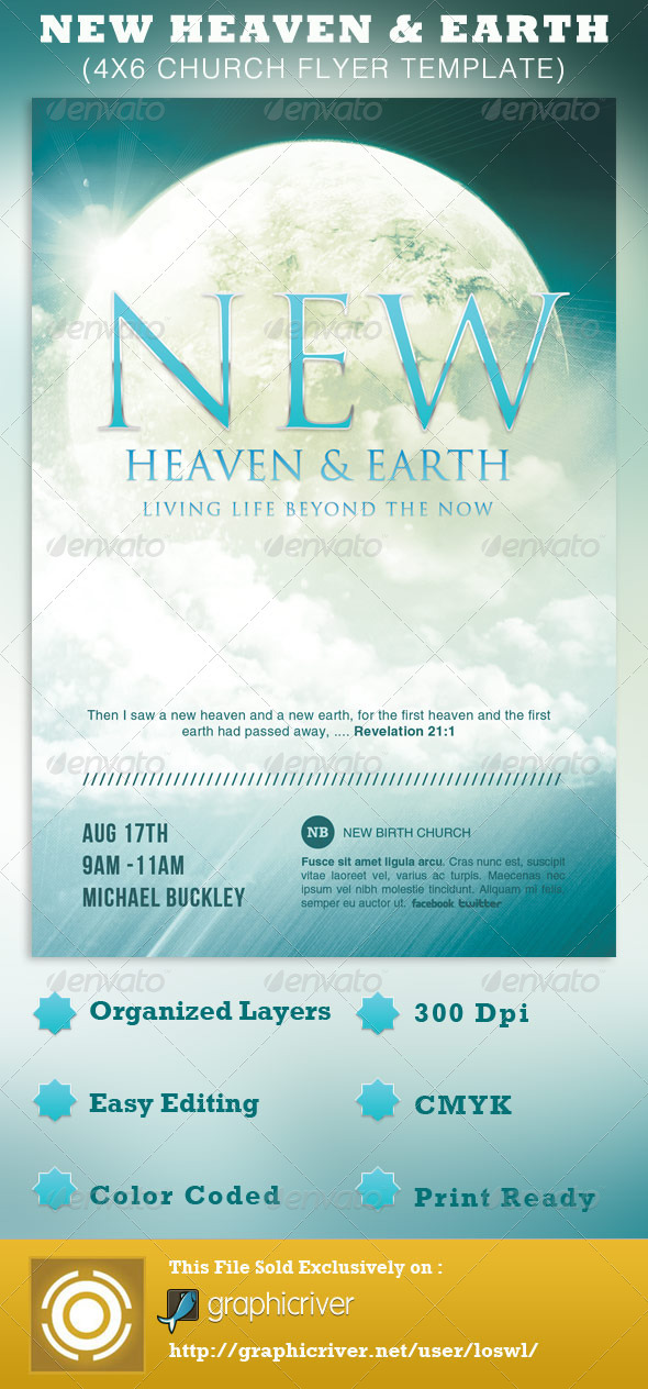 New Heaven and Earth Church Flyer Template by loswl | GraphicRiver
