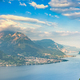 Como Lake landscape. Lake, alps and village view, Italy - PhotoDune Item for Sale