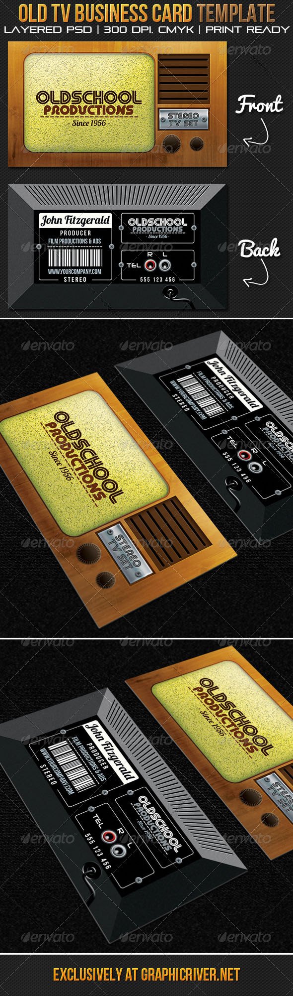 Oldschool Productions Business Card Template - Real Objects Business Cards