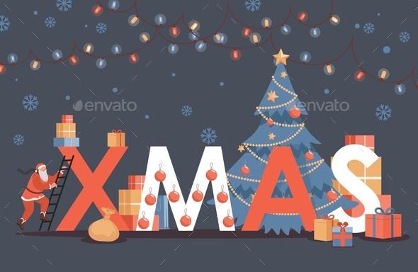 Merry Christmas Vector Flat Poster Design