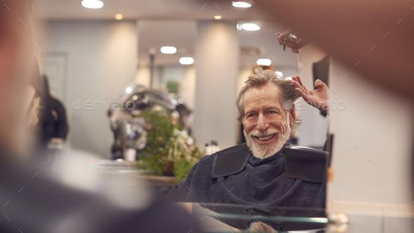 Senior Man Having Hair Cut By Female Stylist In Hairdressing Salon - Stock Photo - Images