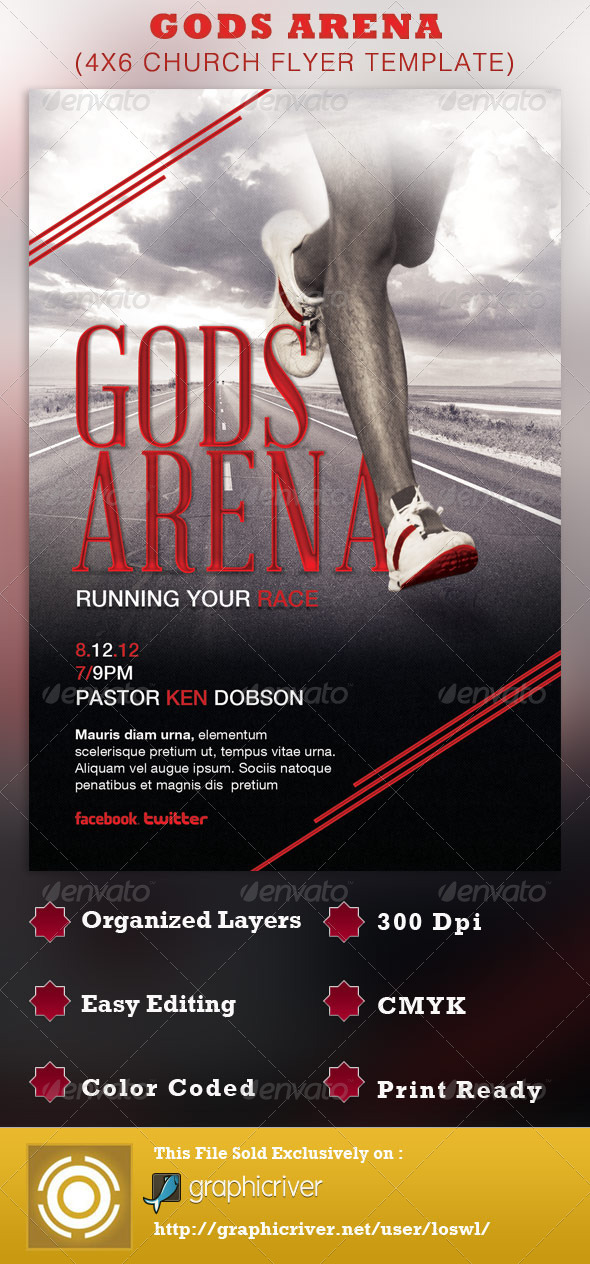 Gods Arena Church Flyer Template - Church Flyers