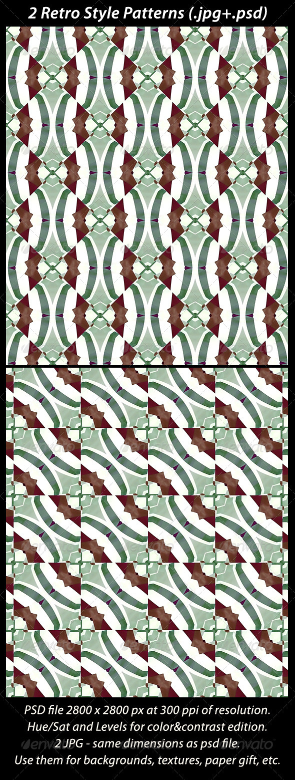 2 Retro Style Patterns - Patterns Backgrounds