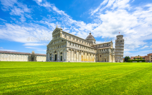 Pisa, Miracle Square. Cathedral Duomo and Leaning Tower of Pisa. Tuscany, Italy - Stock Photo - Images