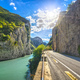 Furlo Pass or Gola del Furlo, road, river and gorge on the road Via Flaminia. Marche Italy. - PhotoDune Item for Sale