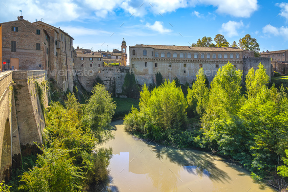 Urbania town and Ducal Palace. Marche region, Italy. - Stock Photo - Images