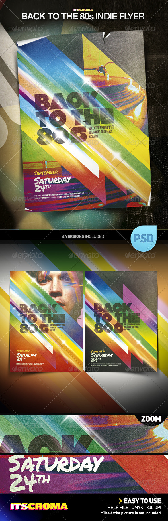 Indie Vintage Poster Template / Back to the 80s - Clubs & Parties Events