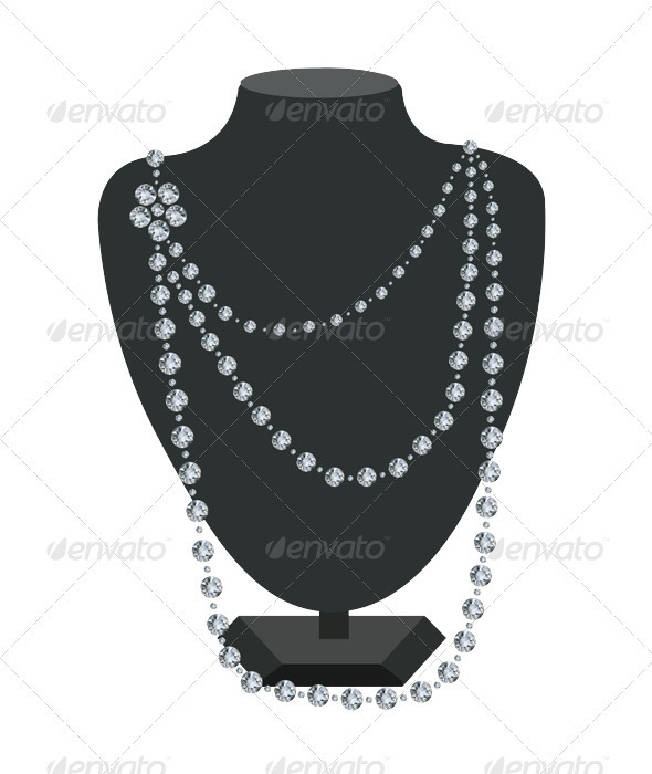 Diamond necklace on a black mannequin  - Man-made Objects Objects