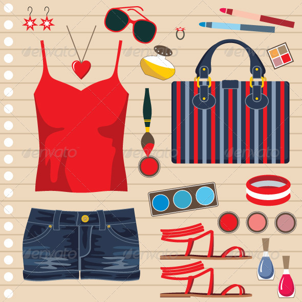 Fashion set with jeans skirt - Conceptual Vectors