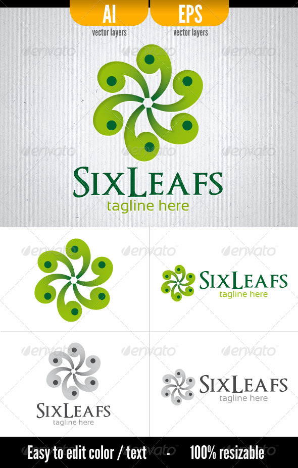 Six Leafs - Vector Abstract