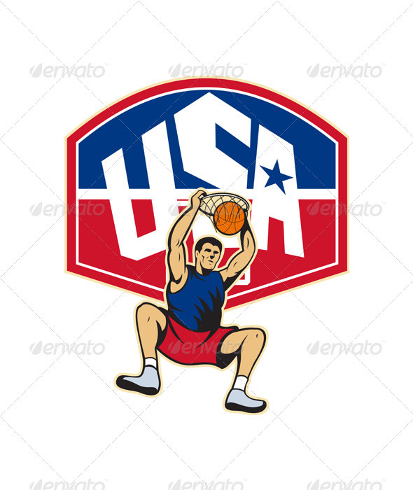 Basketball Player Dunking Ball USA  - Sports/Activity Conceptual