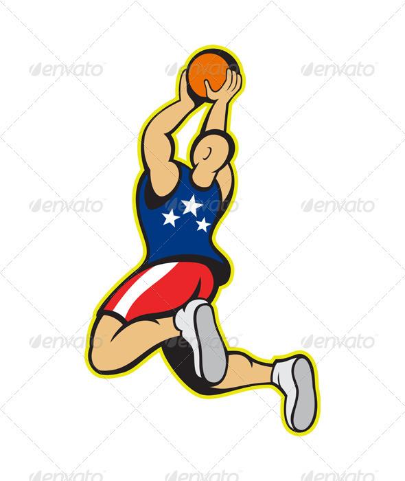 Basketball Player Shooting Jumping Ball  - Sports/Activity Conceptual