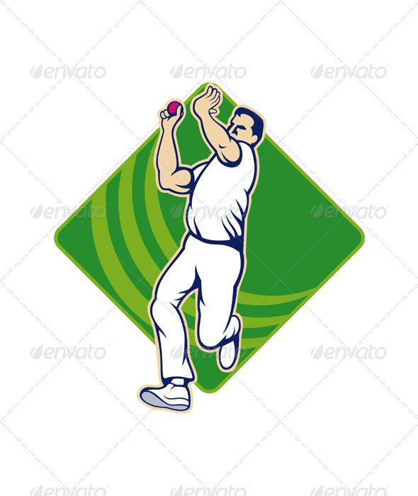 Cricket Bowler Bowling Ball Front  - Sports/Activity Conceptual