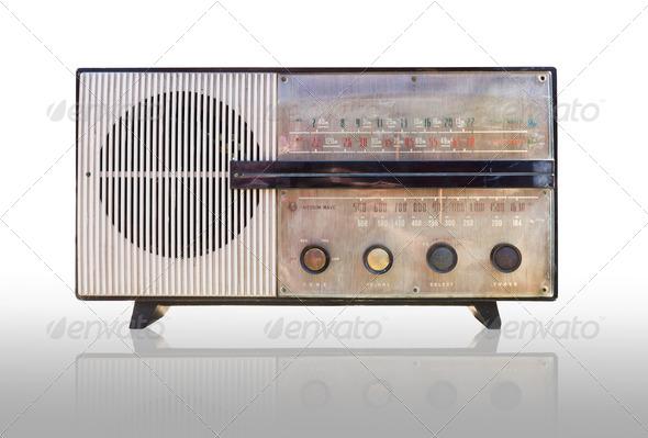 Vintage radio isolated - Stock Photo - Images