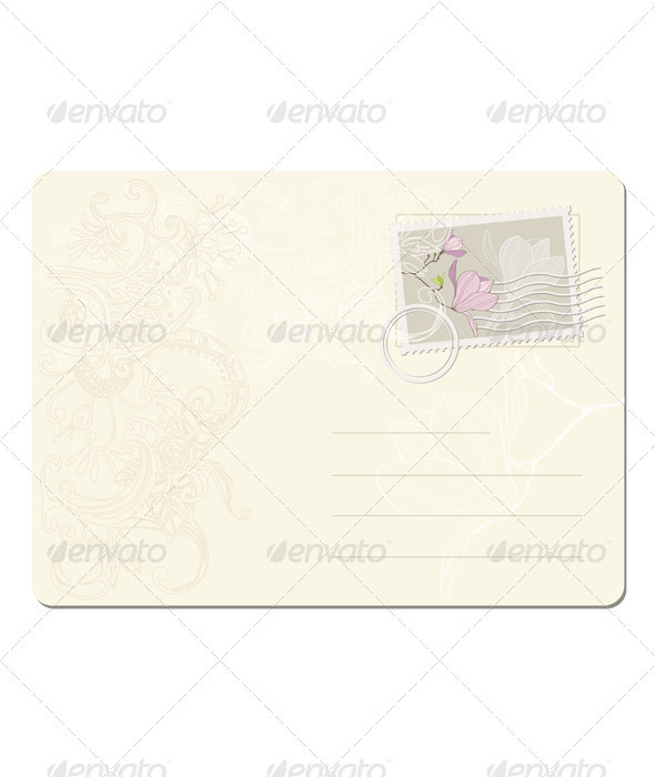 Blank post stamp with magnolia  - Objects Vectors