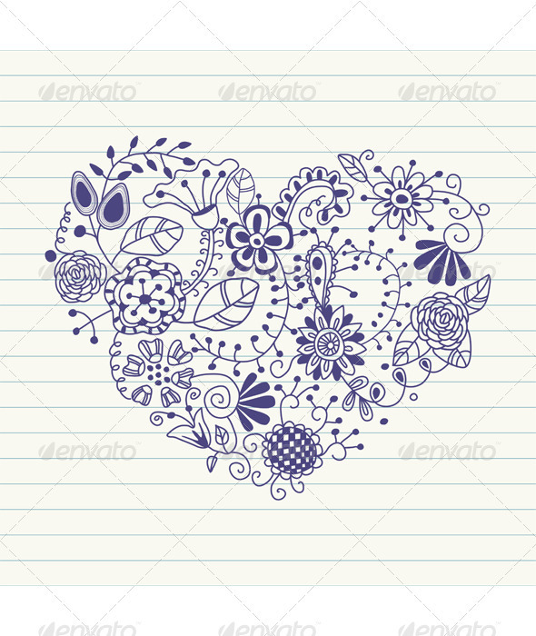 Floral heart. Heart made of flowers - Flourishes / Swirls Decorative