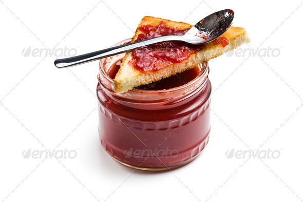 toast with jam in glass jar - Stock Photo - Images