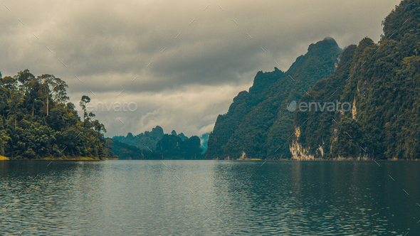 Cheo Lan Lake in Thailand.Rainy Clouds - Stock Photo - Images