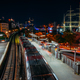 Landungsbruecken in Hamburg during night. Panorama of Harbor and metro station, Germany. Light - PhotoDune Item for Sale