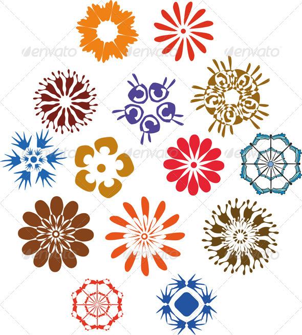Flowers Sing Set - Decorative Vectors