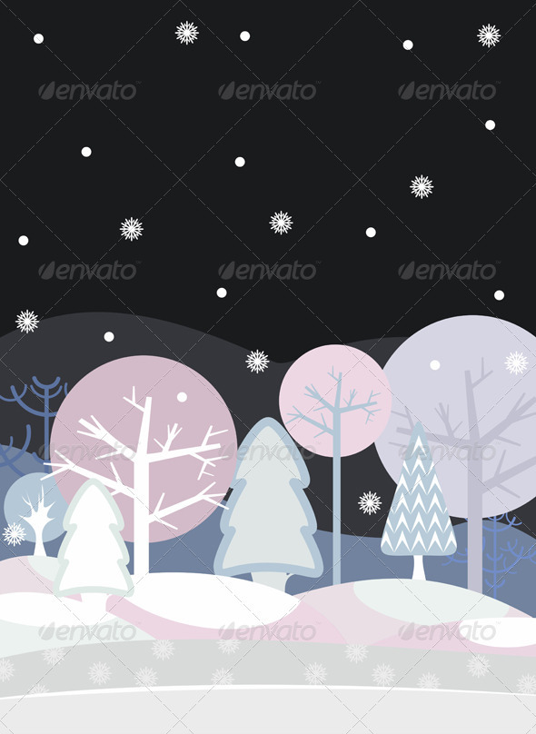 Night Forest Winter - Nature Conceptual