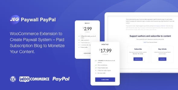 Jeg Paywall & Content Subscriptions System with Paypal for WooCommerce