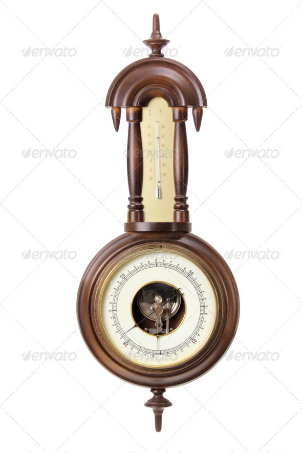 Antique Thermometer and Hygrometer - Stock Photo - Images