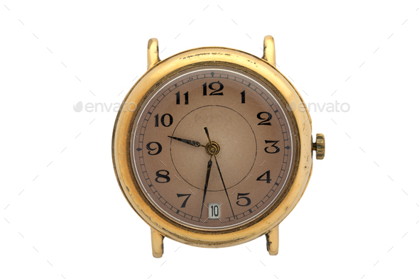 Gold watch with brown dial and Arabic numerals. Isolated over white background. - Stock Photo - Images