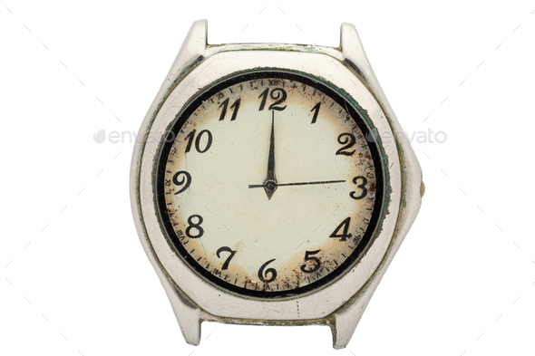 Chrome watch with white dial and Arabic numerals. Isolated over white background. - Stock Photo - Images