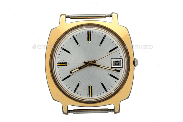 Gold watch without Arabic numerals on the dial. Isolated over white background. - Stock Photo - Images