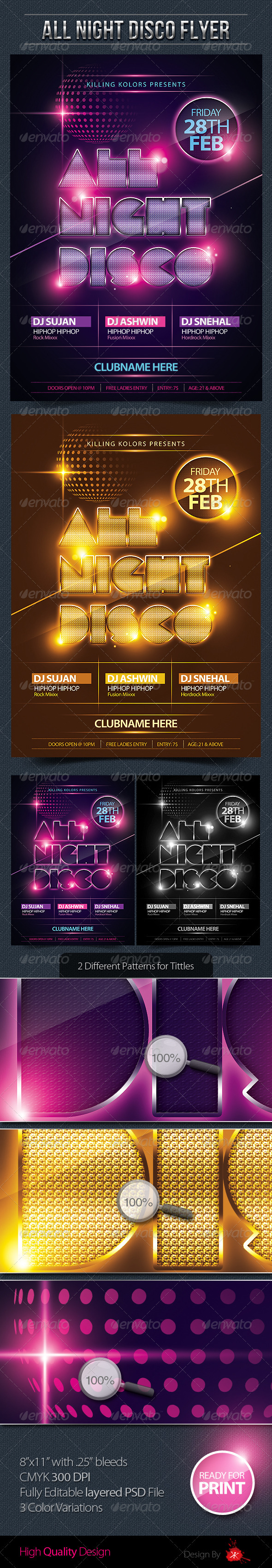 All Night Disco Flyer - Clubs & Parties Events