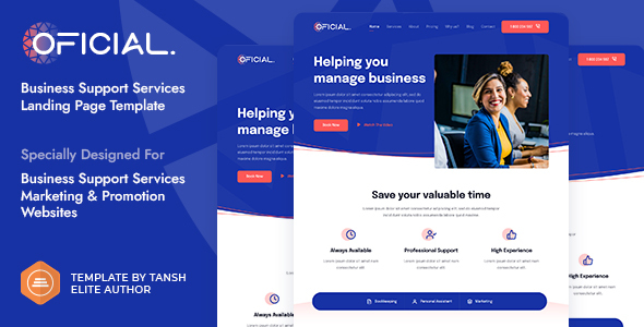 Oficial Business Support Services HTML Landing Page Template