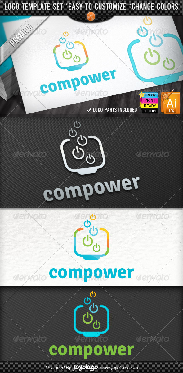 Pixel Powers Computer Tools Service Logo Designs - Objects Logo Templates