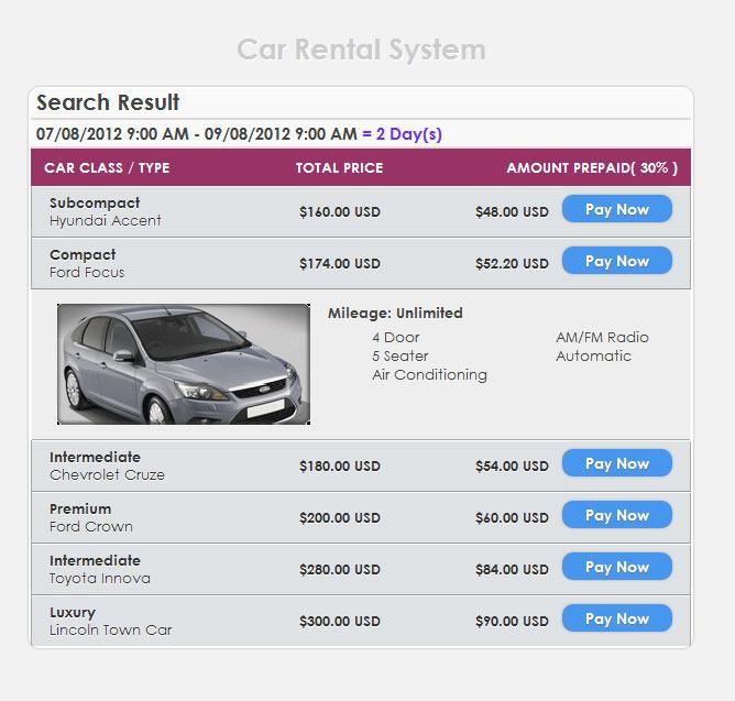 Online Car Rental System Project