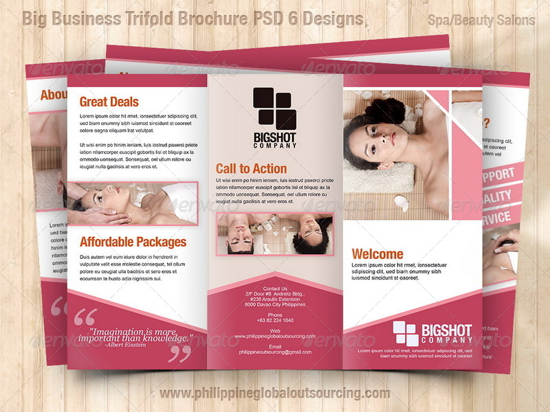 A4 Trifold Brochure Template PSD 6 Variations 1 by – Spa Brochure Template