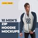 10 Men's Zip Hoodie Mockups