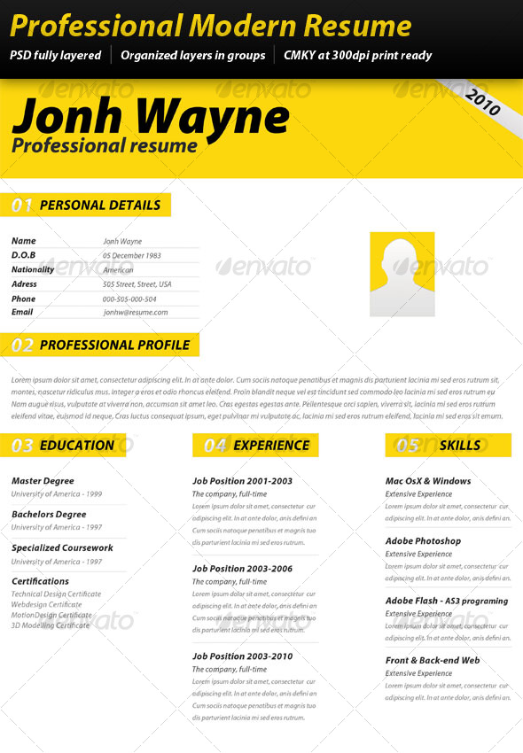 professional modern resume resumes stationery