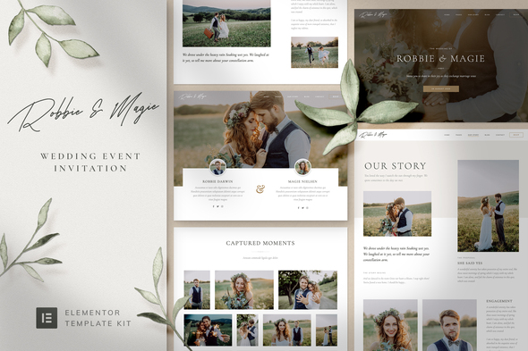 Robbie & Magie – Wedding Event Invitation Elementor Template Kit
