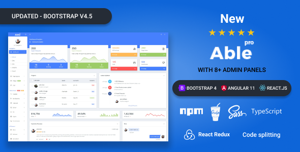 Able pro 8.0 Bootstrap 4, Angular 11 & React Redux Admin Template