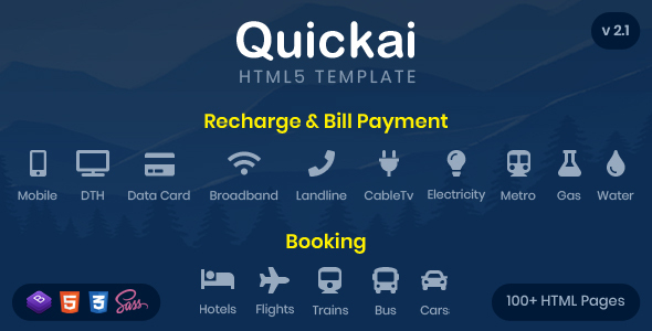 Quickai - Recharge & Bill Payment, Booking HTML5 Template